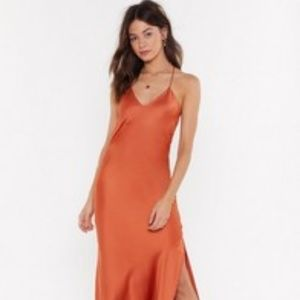 Rust Midi Satin Dress